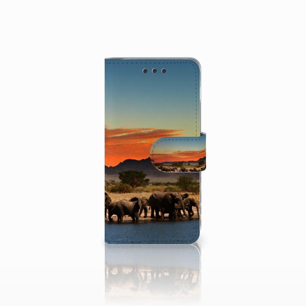 Samsung Galaxy A3 2016 Telefoonhoesje met Pasjes Olifanten