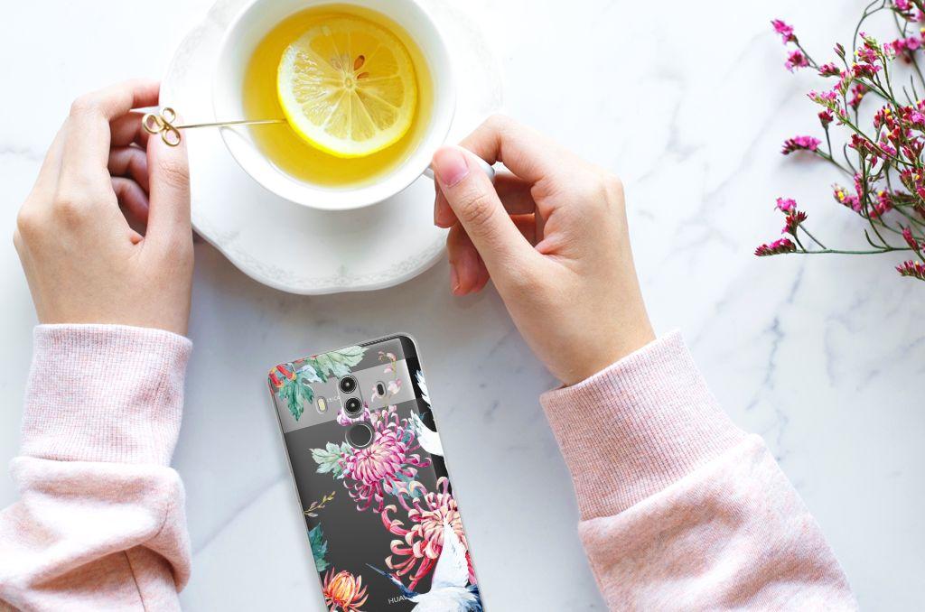 Huawei Mate 10 Pro TPU Hoesje Bird Flowers