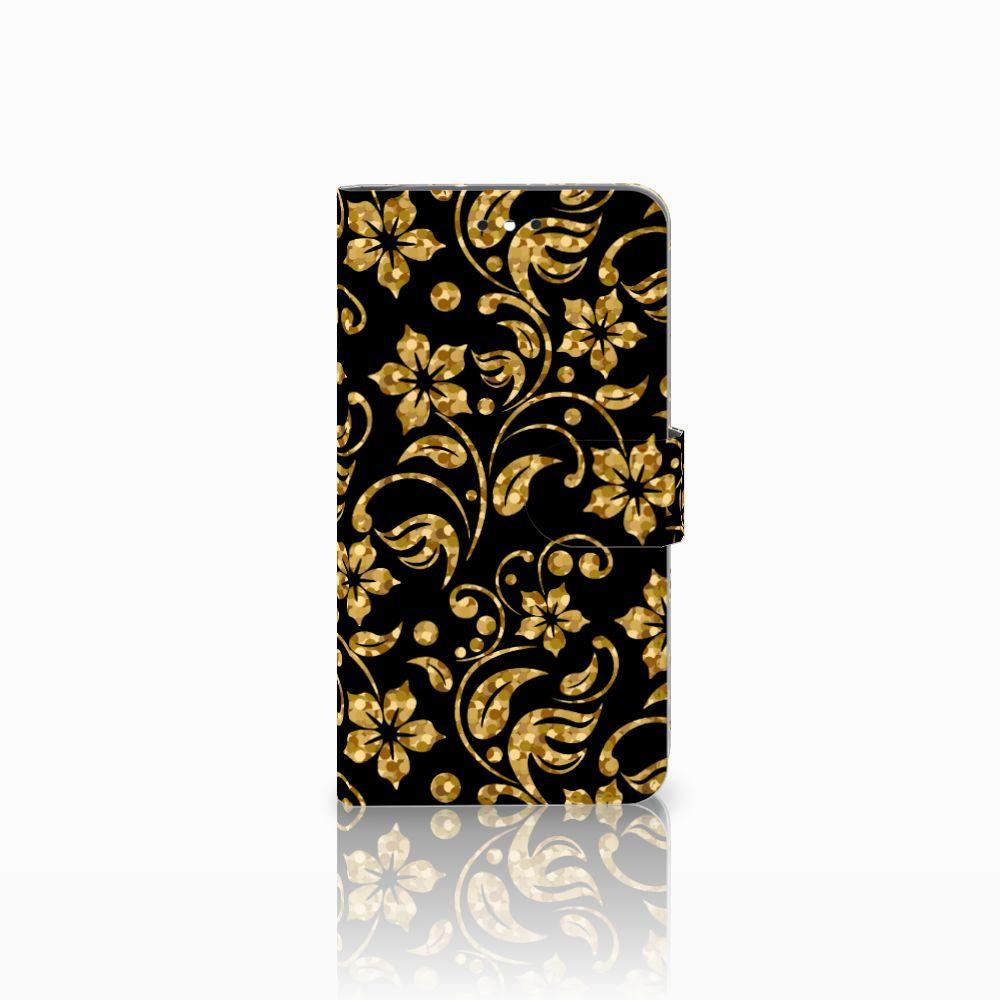 Motorola Moto G4 | G4 Plus Boekhoesje Design Gouden Bloemen