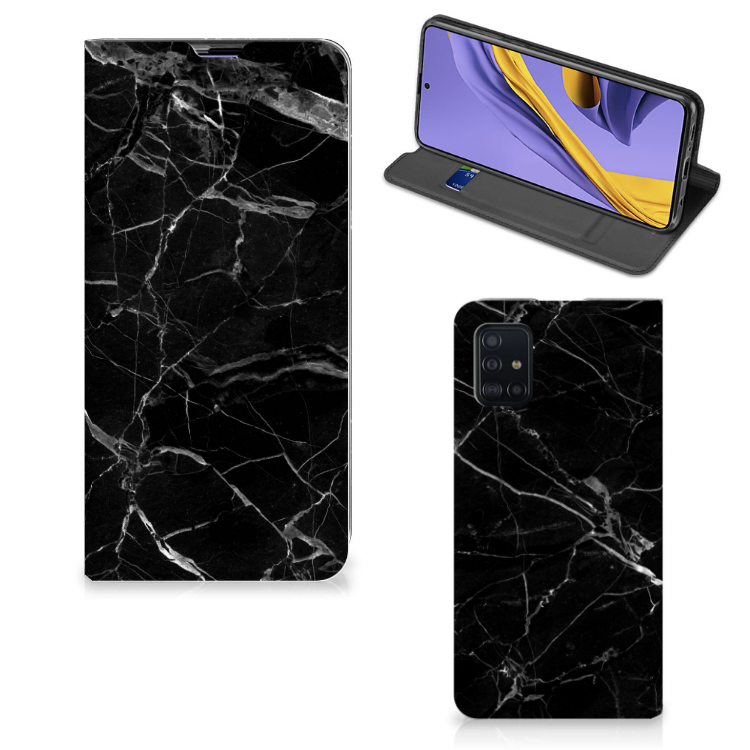 Samsung Galaxy A51 Standcase Marmer Zwart - Origineel Cadeau Vader