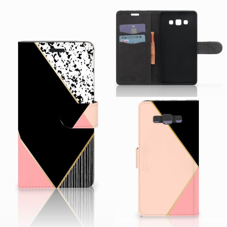 Samsung Galaxy A7 2015 Bookcase Zwart Roze Vormen