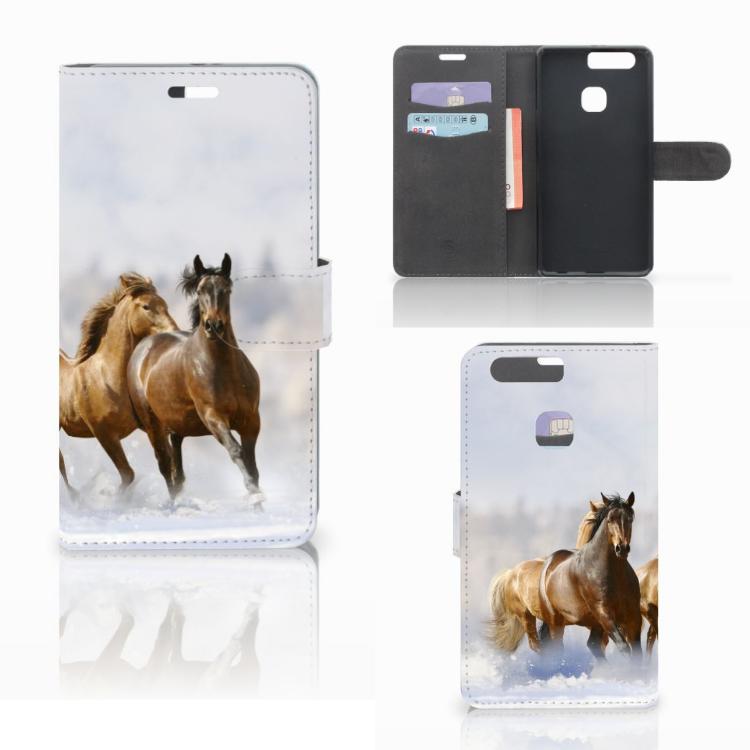 Huawei P9 Plus Telefoonhoesje met Pasjes Paarden