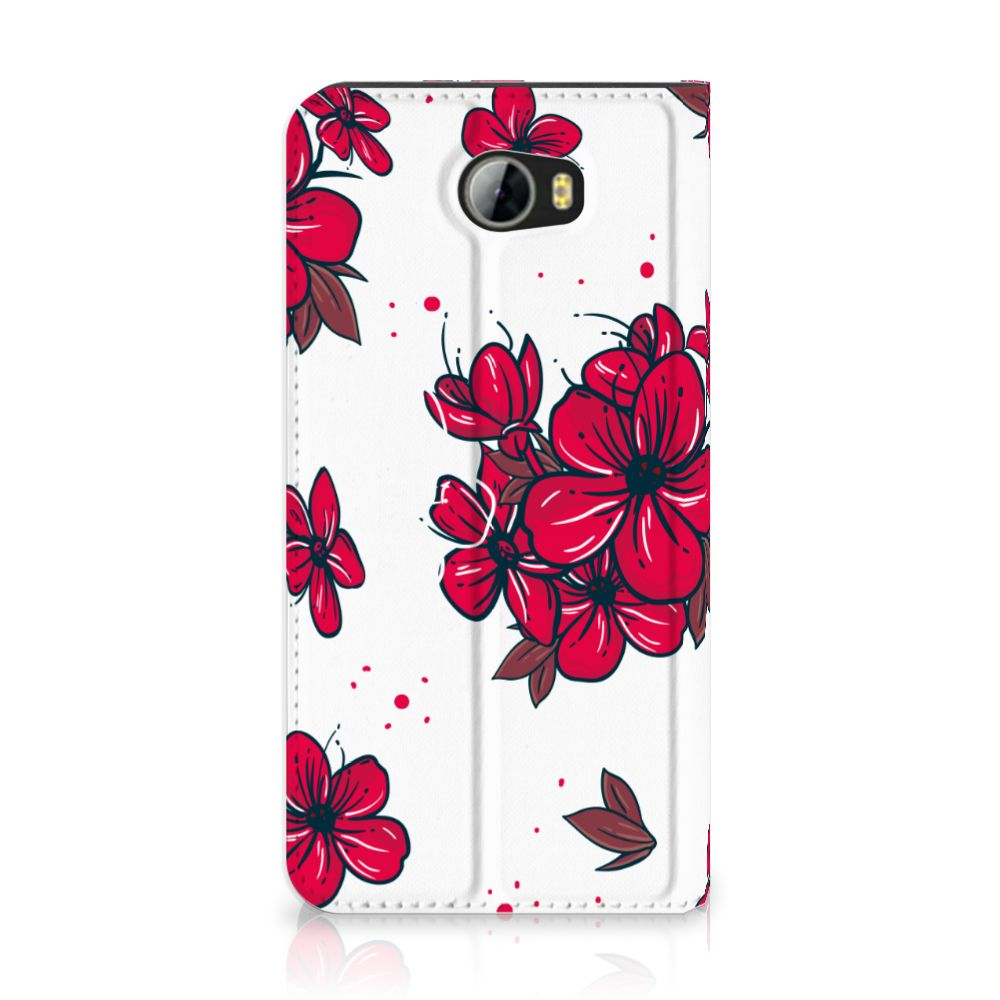 Huawei Y5 2   Y6 Compact Standcase Hoesje Design Blossom Red