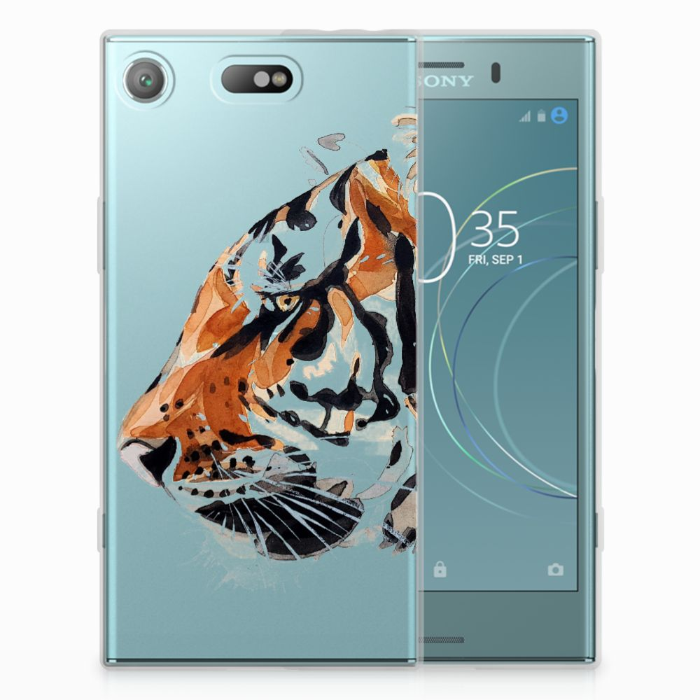 Sony Xperia XZ1 Compact Uniek TPU Hoesje Watercolor Tiger