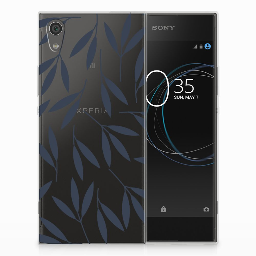 Sony Xperia XA1 TPU Hoesje Design Leaves Blue