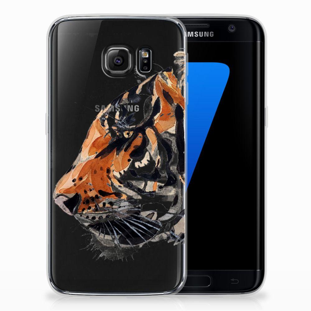 Samsung Galaxy S7 Edge Uniek TPU Hoesje Watercolor Tiger