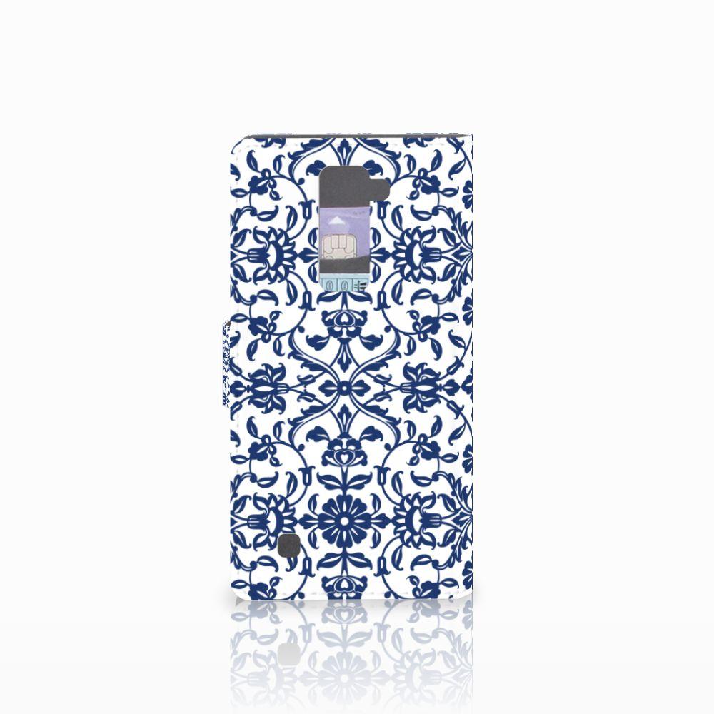 LG K10 2015 Hoesje Flower Blue