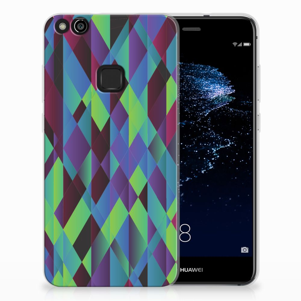 Huawei P10 Lite TPU Hoesje Abstract Green Blue