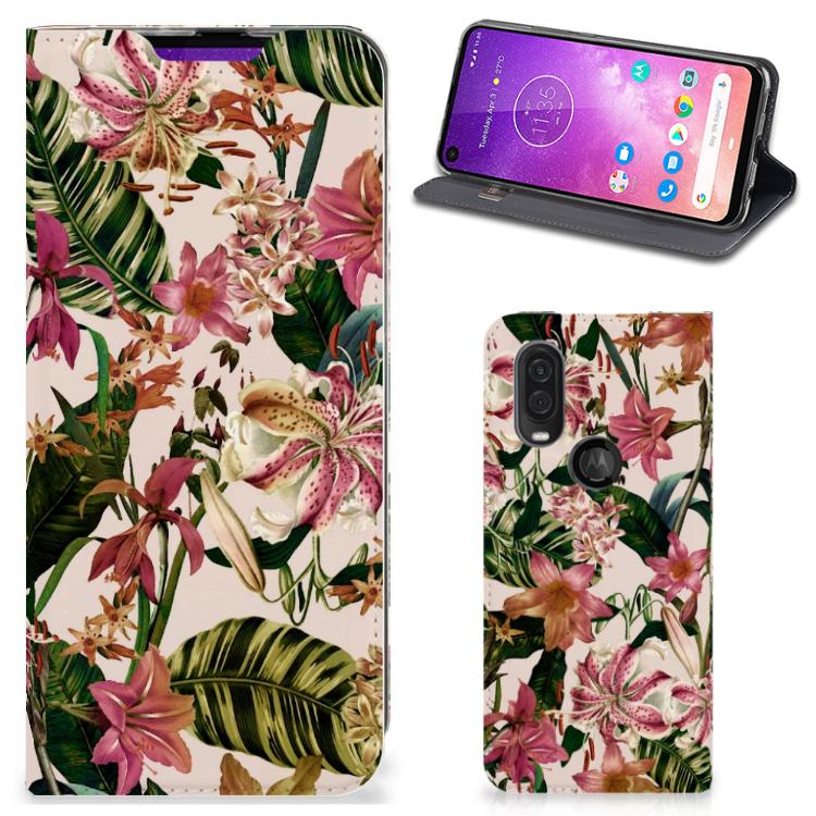 Motorola One Vision Smart Cover Flowers
