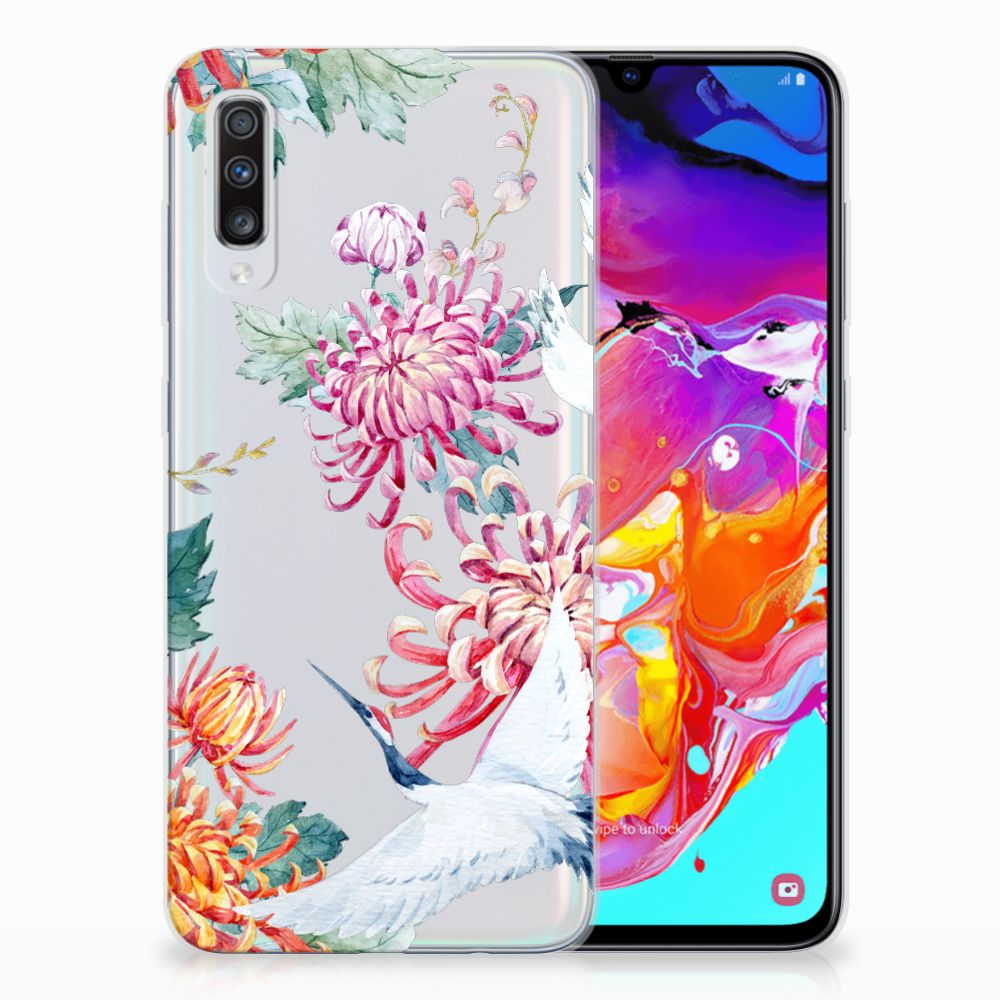 Samsung Galaxy A70 TPU Hoesje Bird Flowers