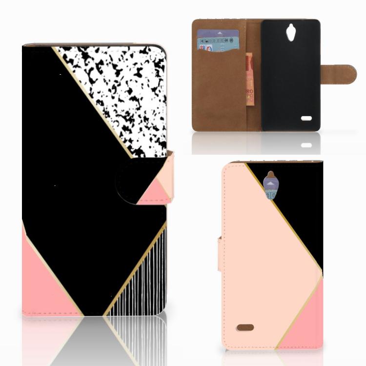 Huawei Ascend G700 Bookcase Zwart Roze Vormen