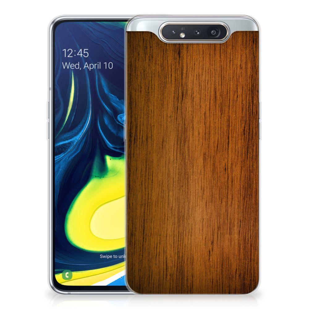 Samsung Galaxy A80 Bumper Hoesje Donker Hout