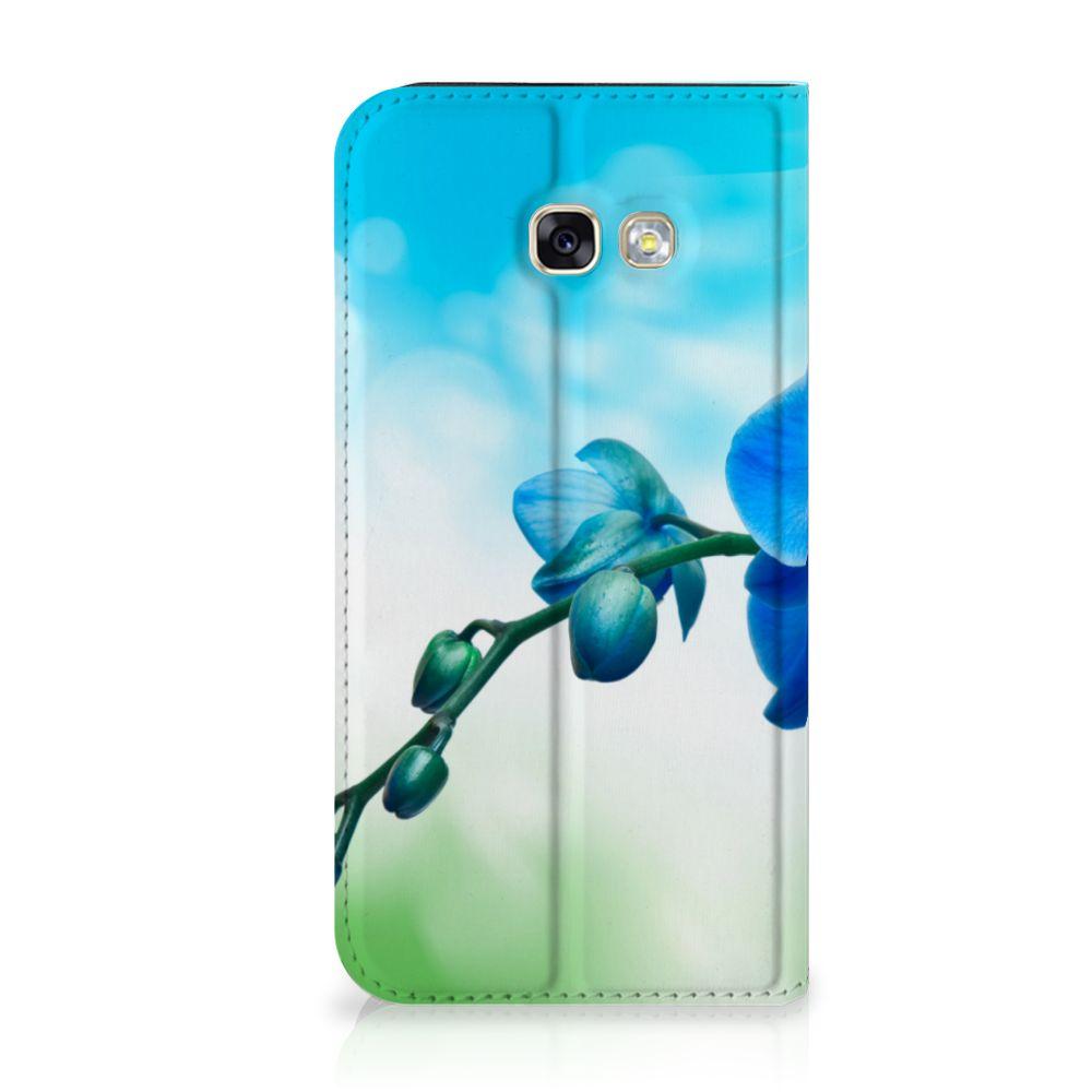 Samsung Galaxy A5 2017 Standcase Hoesje Design Orchidee Blauw