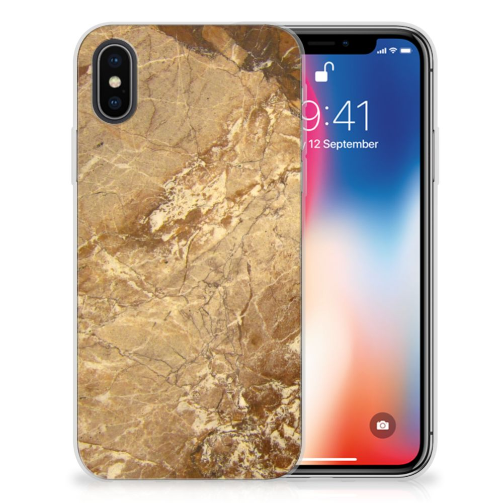 Apple iPhone X | Xs TPU Siliconen Hoesje Marmer Creme