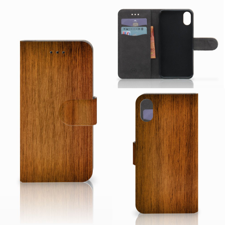 Apple iPhone X   Xs Book Style Case Donker Hout