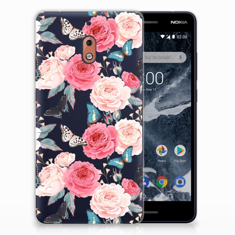 Nokia 2.1 (2018) Uniek TPU Hoesje Butterfly Roses