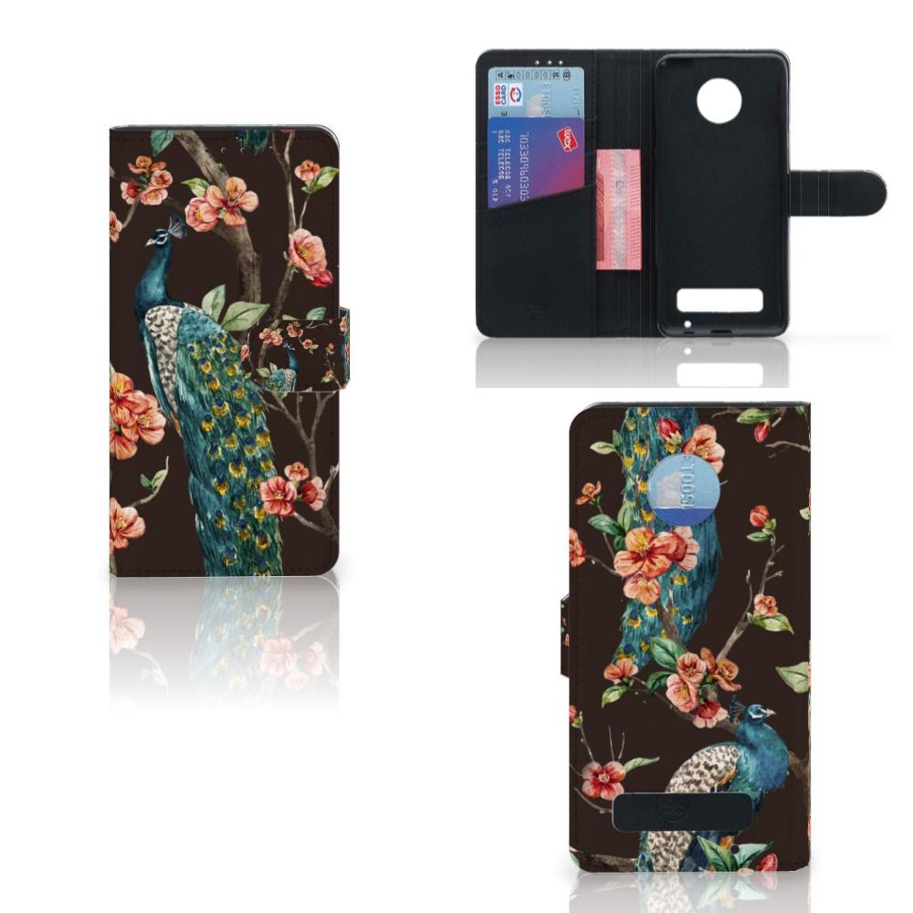 Motorola Moto Z Play Telefoonhoesje met Pasjes Pauw met Bloemen