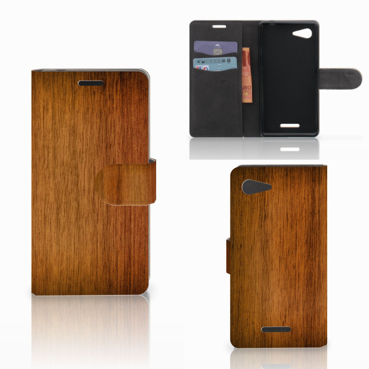 Sony Xperia E3 Book Style Case Donker Hout