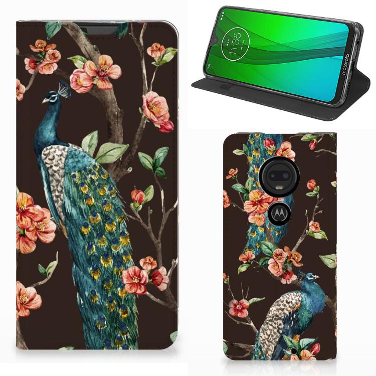 Motorola Moto G7 | G7 Plus Hoesje maken Pauw met Bloemen