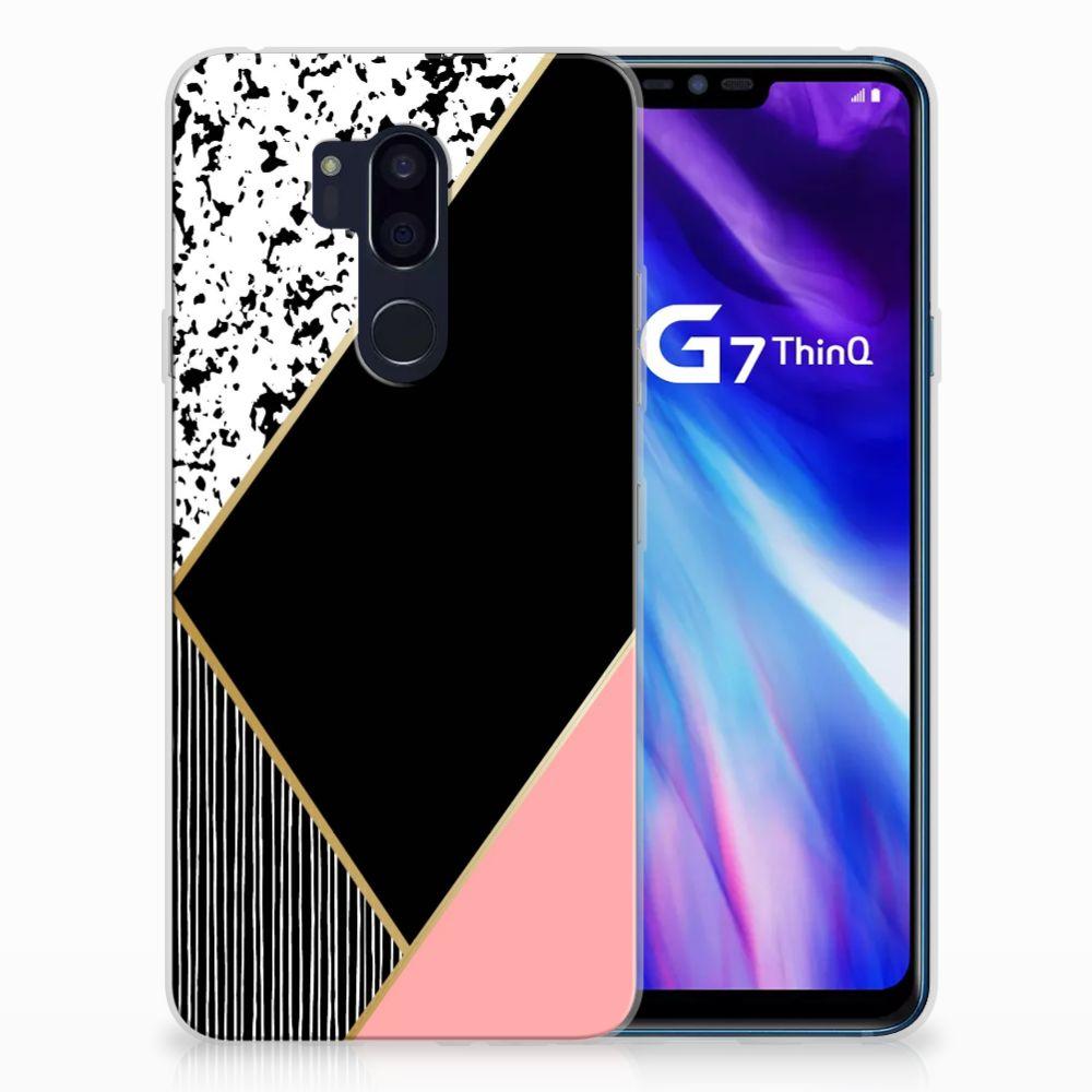 LG G7 Thinq Uniek TPU Hoesje Black Pink Shapes