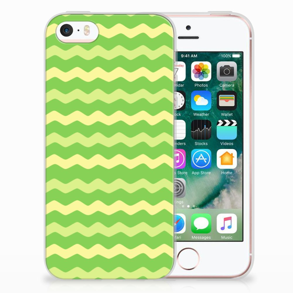 Apple iPhone SE   5S TPU Hoesje Design Waves Green