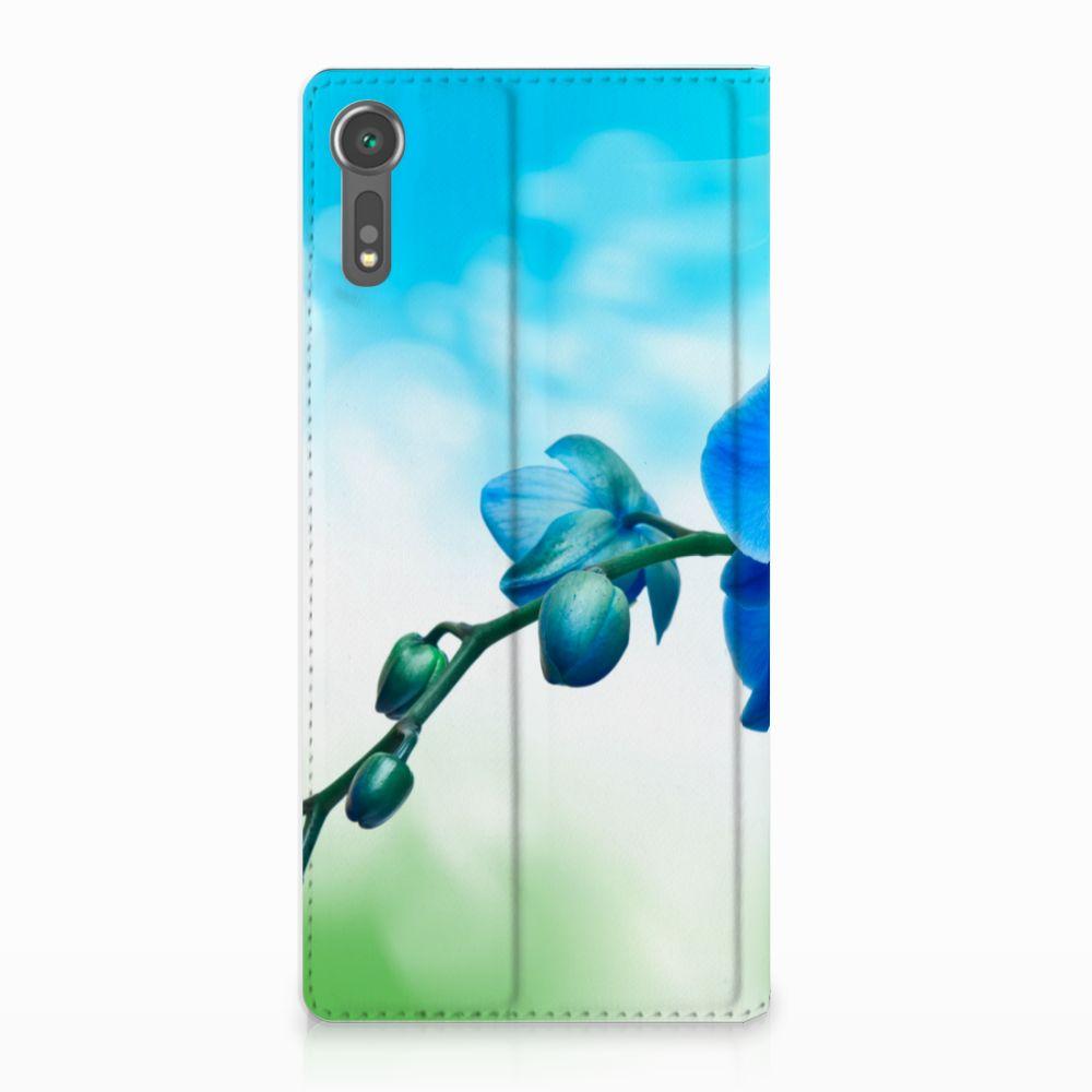Sony Xperia XZ | XZs Standcase Hoesje Design Orchidee Blauw