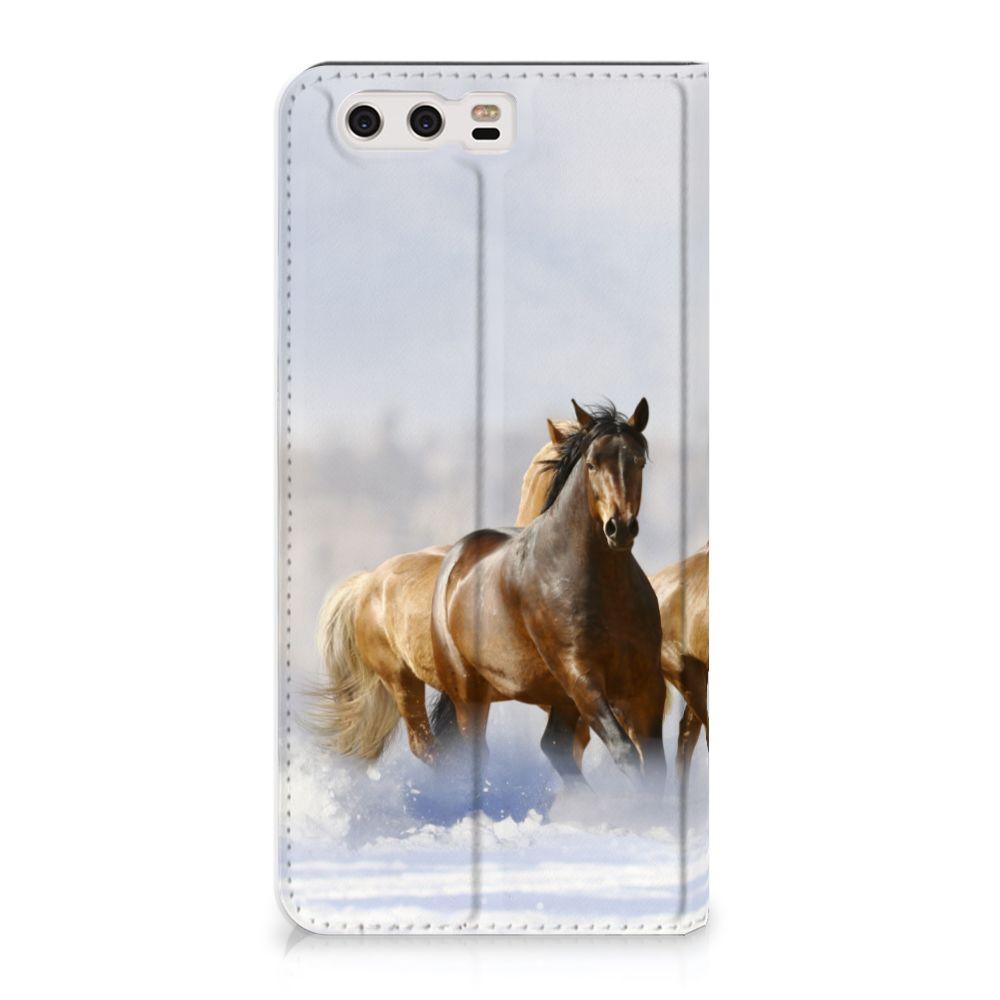 Huawei P10 Plus Uniek Standcase Hoesje Paarden