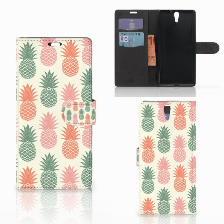 Sony Xperia C5 Ultra Book Cover Ananas