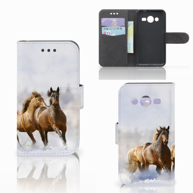 Samsung Galaxy Core 2 Telefoonhoesje met Pasjes Paarden