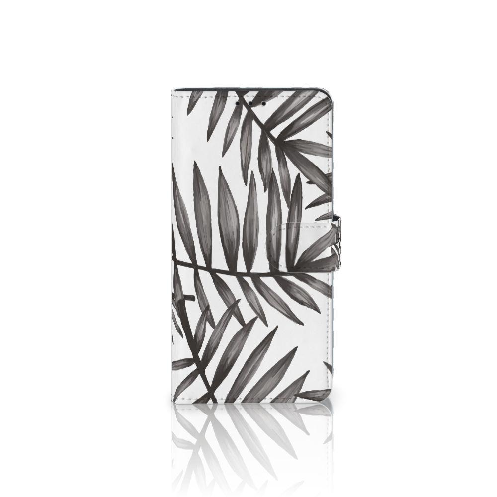 Samsung Galaxy J4 Plus (2018) Uniek Boekhoesje Leaves Grey