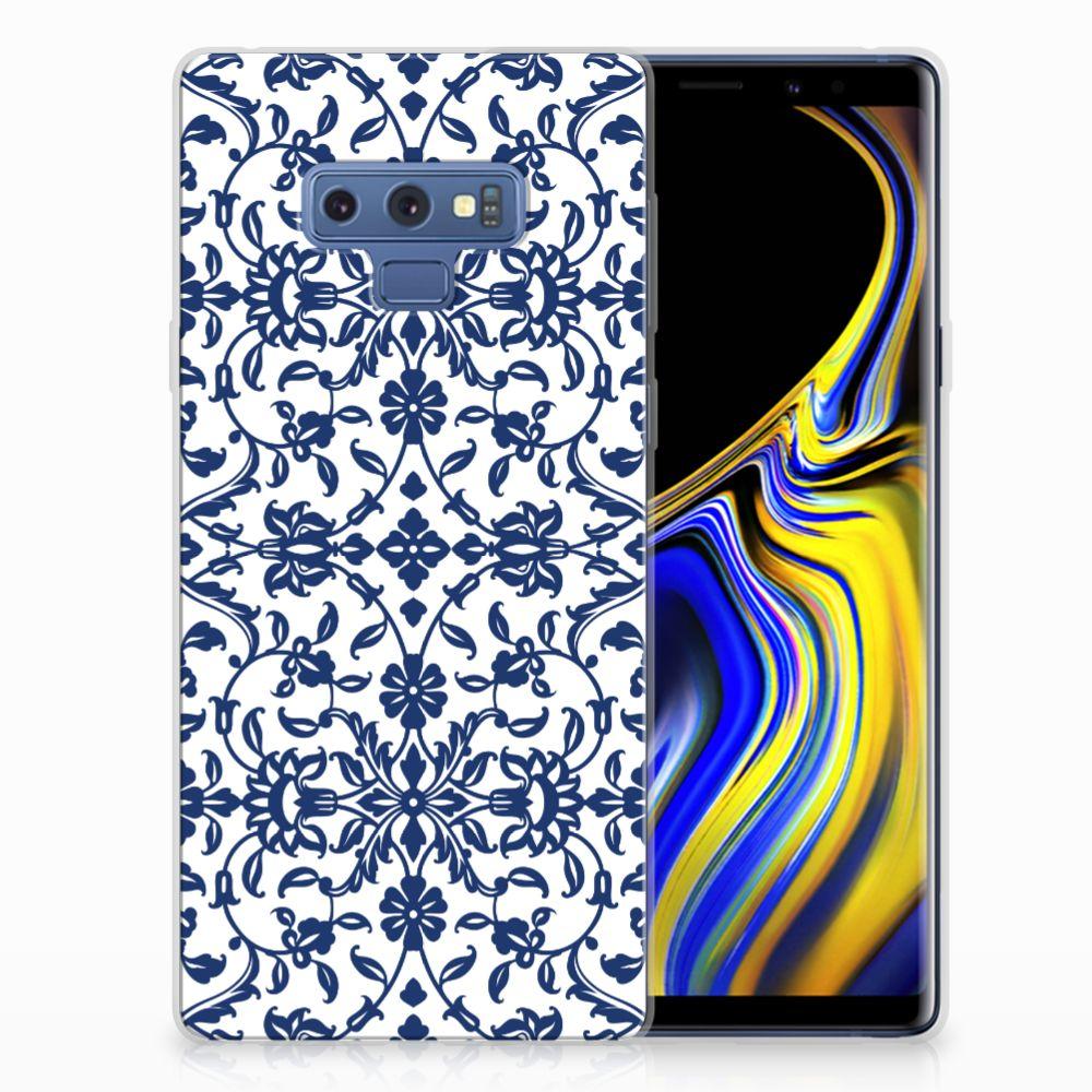 Samsung Galaxy Note 9 TPU Hoesje Flower Blue