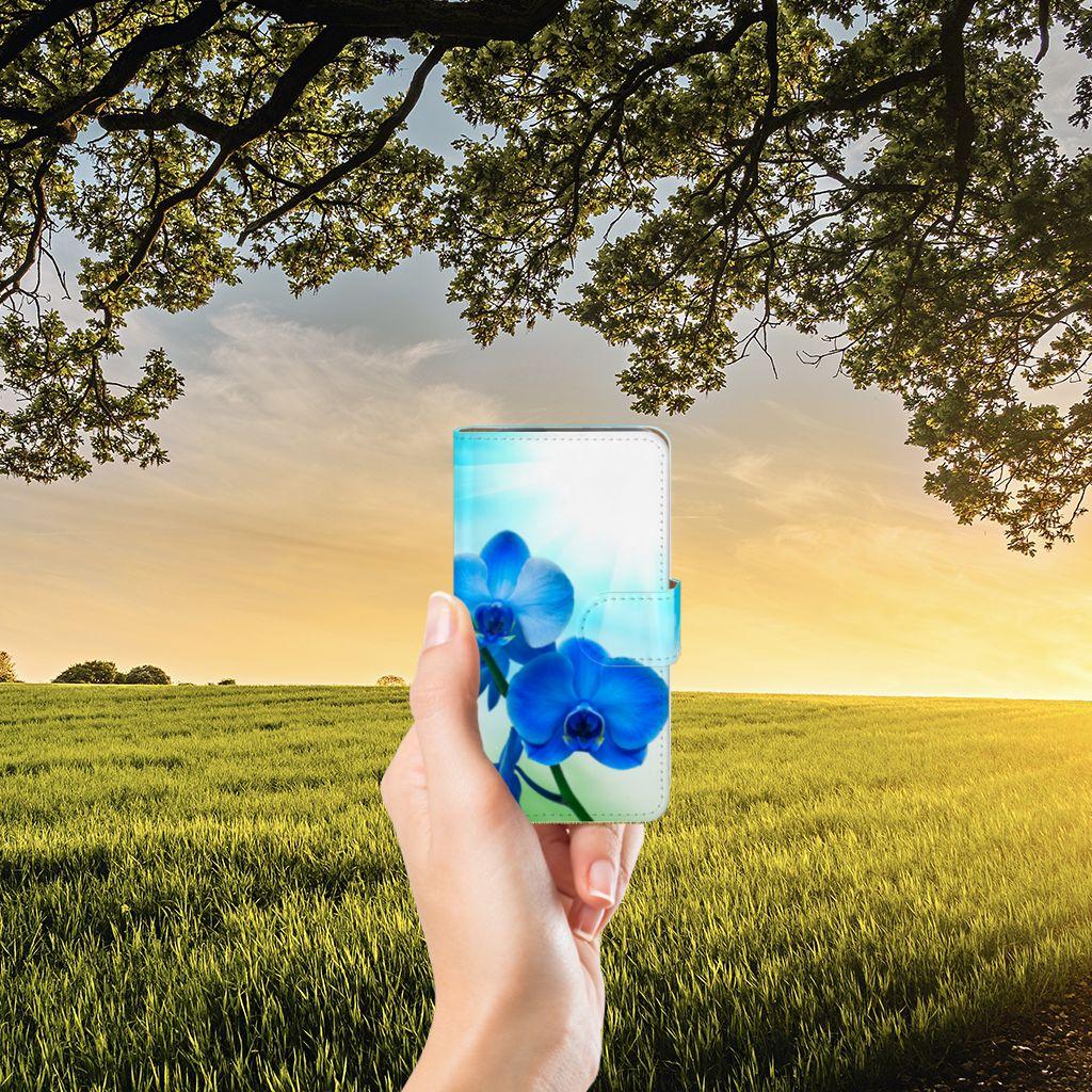 HTC Desire 310 Boekhoesje Design Orchidee Blauw