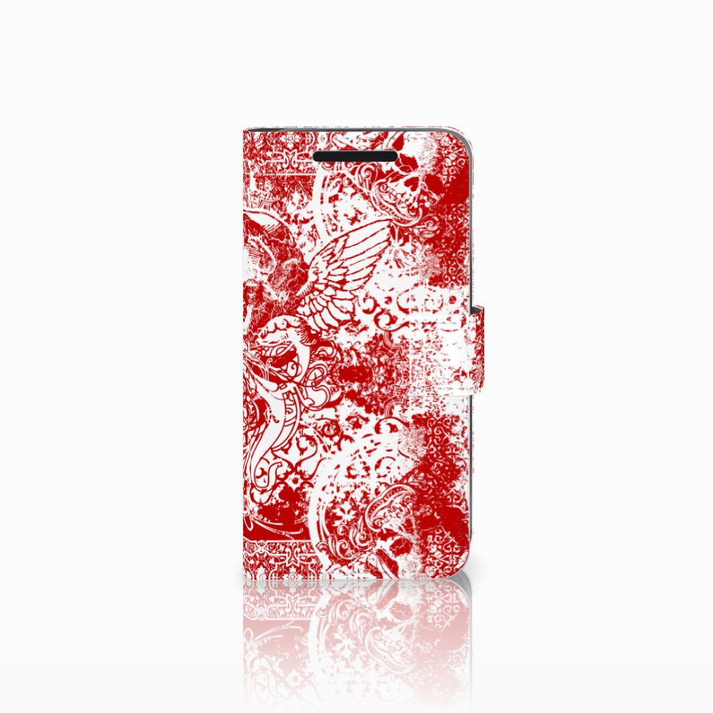 Telefoonhoesje met Naam HTC One M9 Angel Skull Rood
