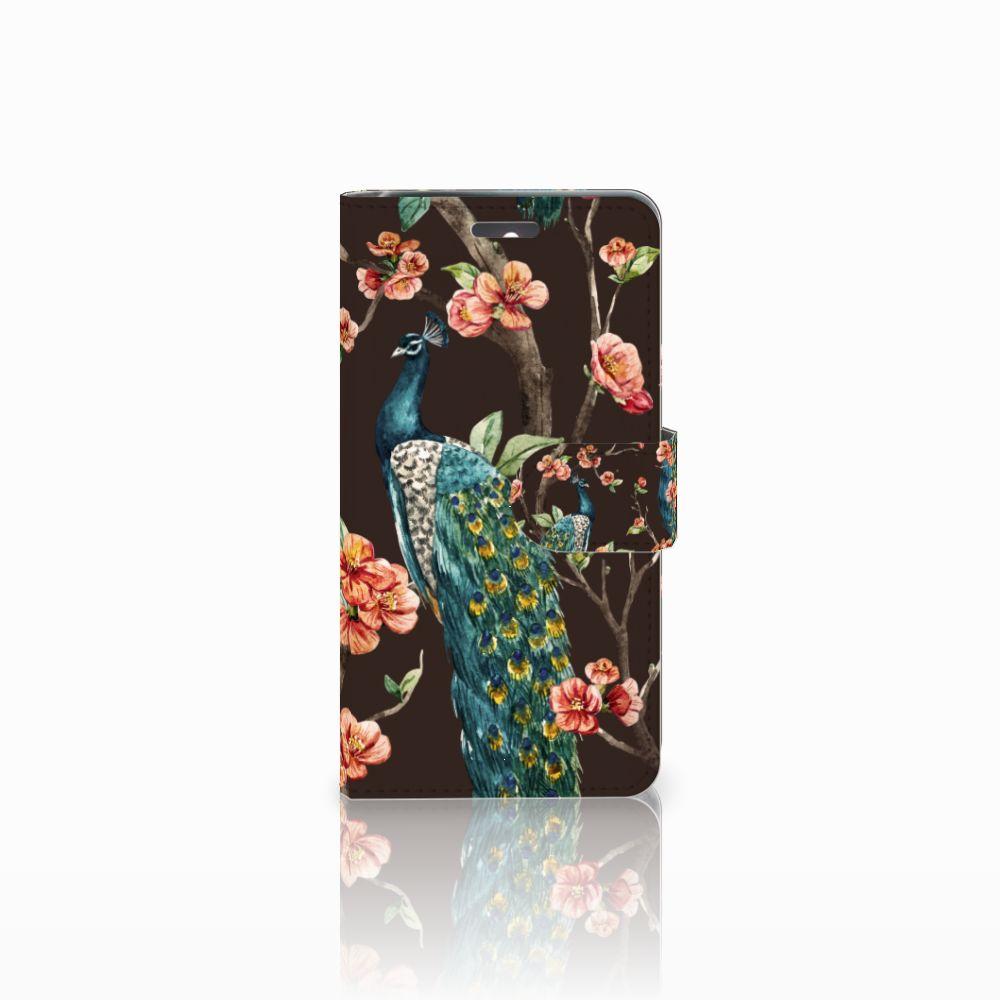 Lenovo K6 Boekhoesje Design Pauw met Bloemen