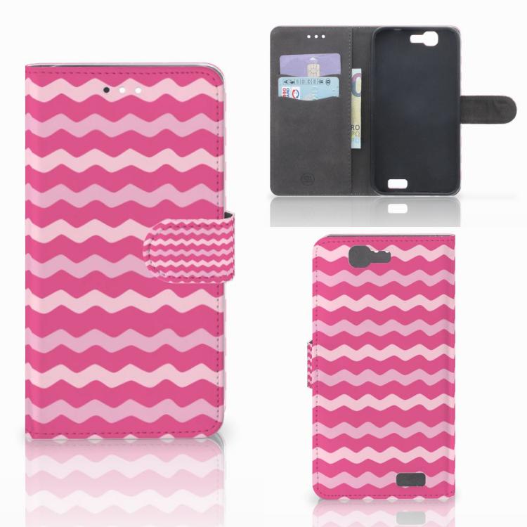 Huawei Ascend G7 Telefoon Hoesje Waves Pink