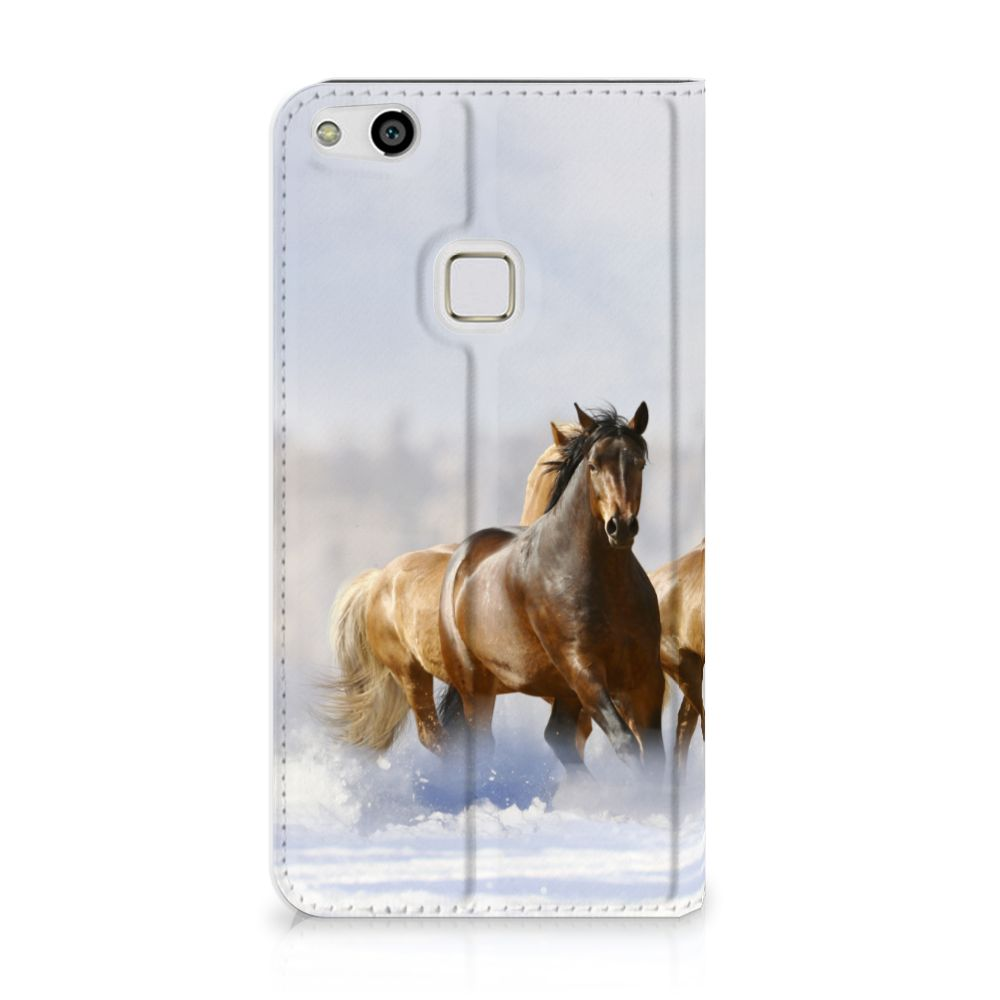 Huawei P10 Lite Uniek Standcase Hoesje Paarden