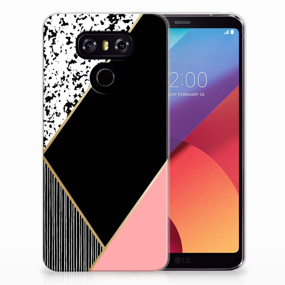 LG G6 TPU Hoesje Zwart Roze Vormen