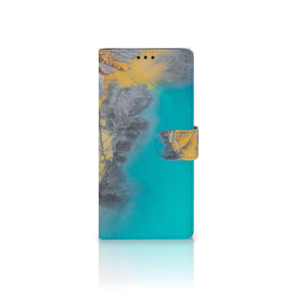 Sony Xperia XA Ultra Boekhoesje Design Marble Blue Gold