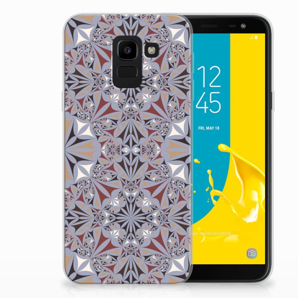 Samsung Galaxy J6 2018 TPU Hoesje Design Flower Tiles