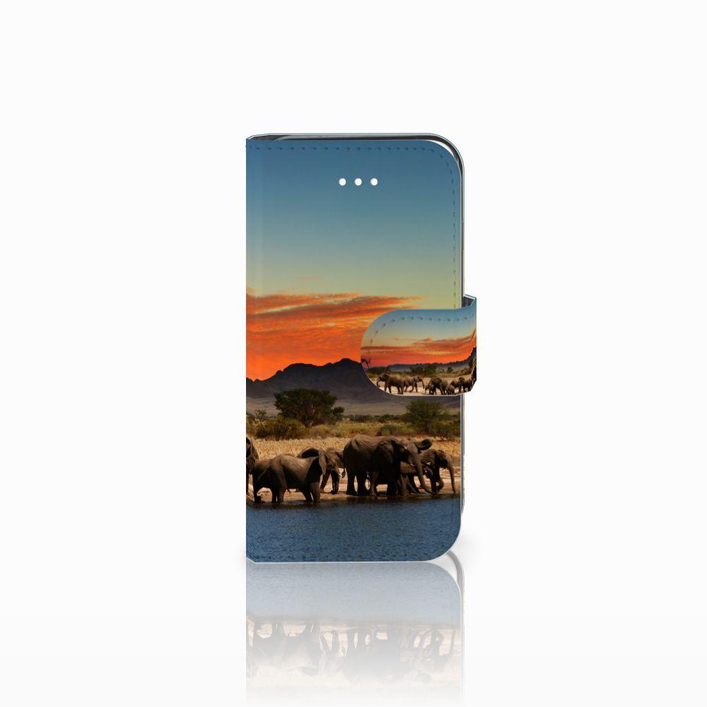 Apple iPhone 5   5s   SE Telefoonhoesje met Pasjes Olifanten
