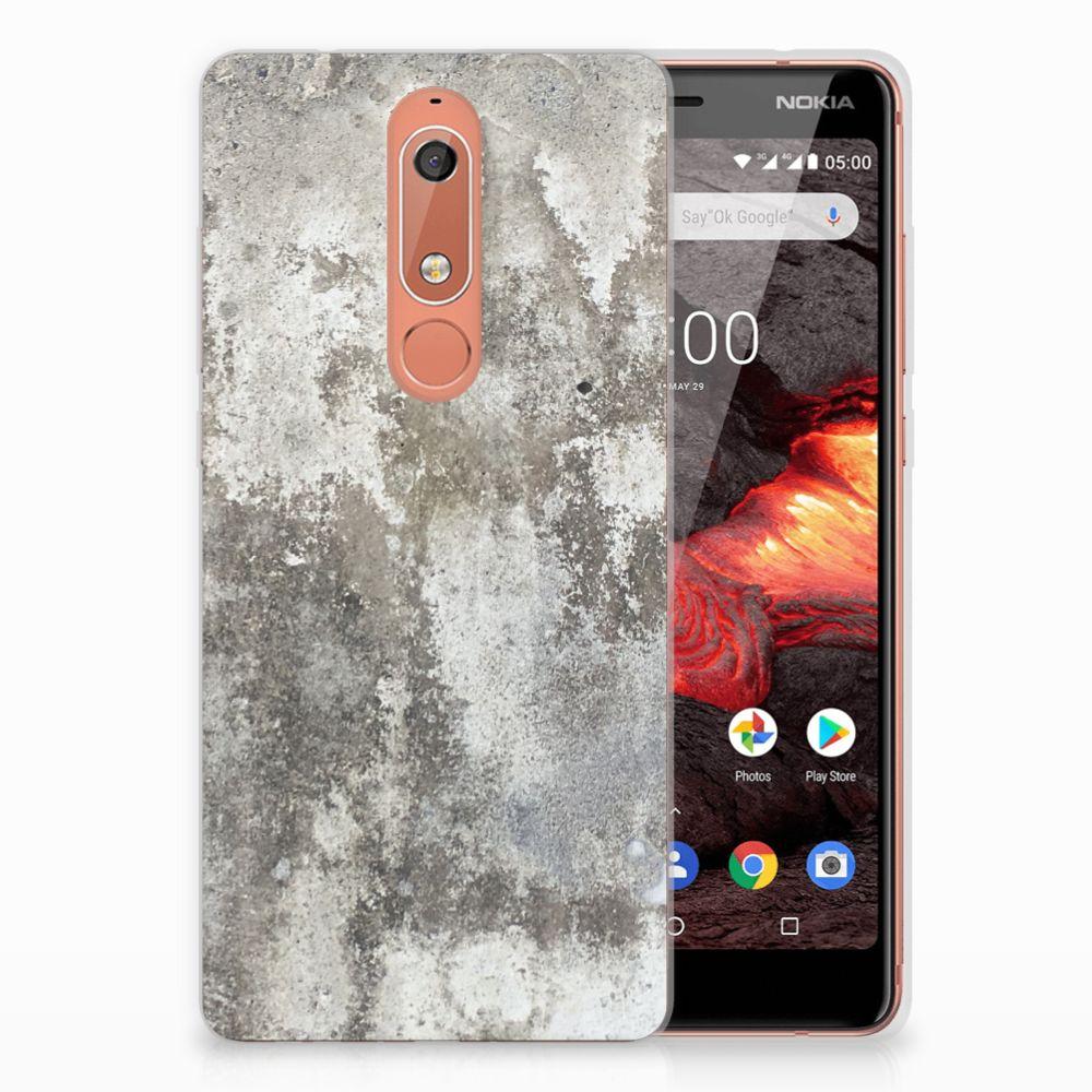 Nokia 5.1 (2018) TPU Siliconen Hoesje Beton Print