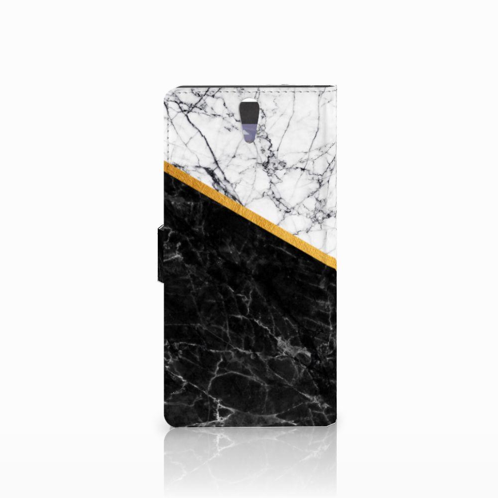 Sony Xperia C5 Ultra Bookcase Marmer Wit Zwart