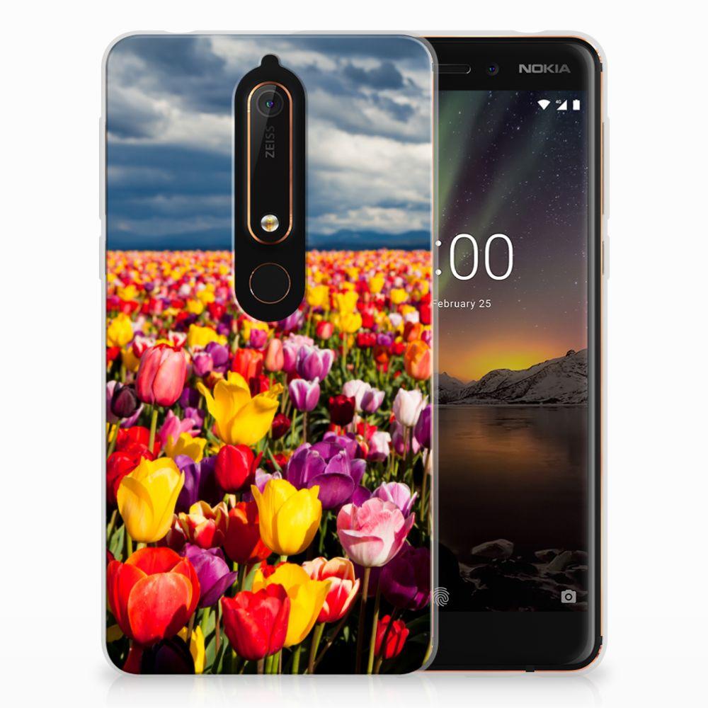 Nokia 6 (2018) Uniek TPU Hoesje Tulpen