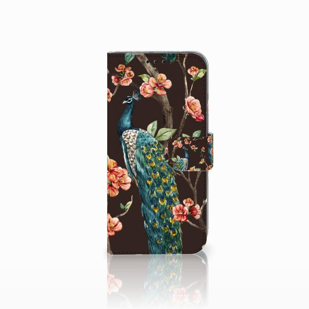 Honor 10 Lite Boekhoesje Design Pauw met Bloemen