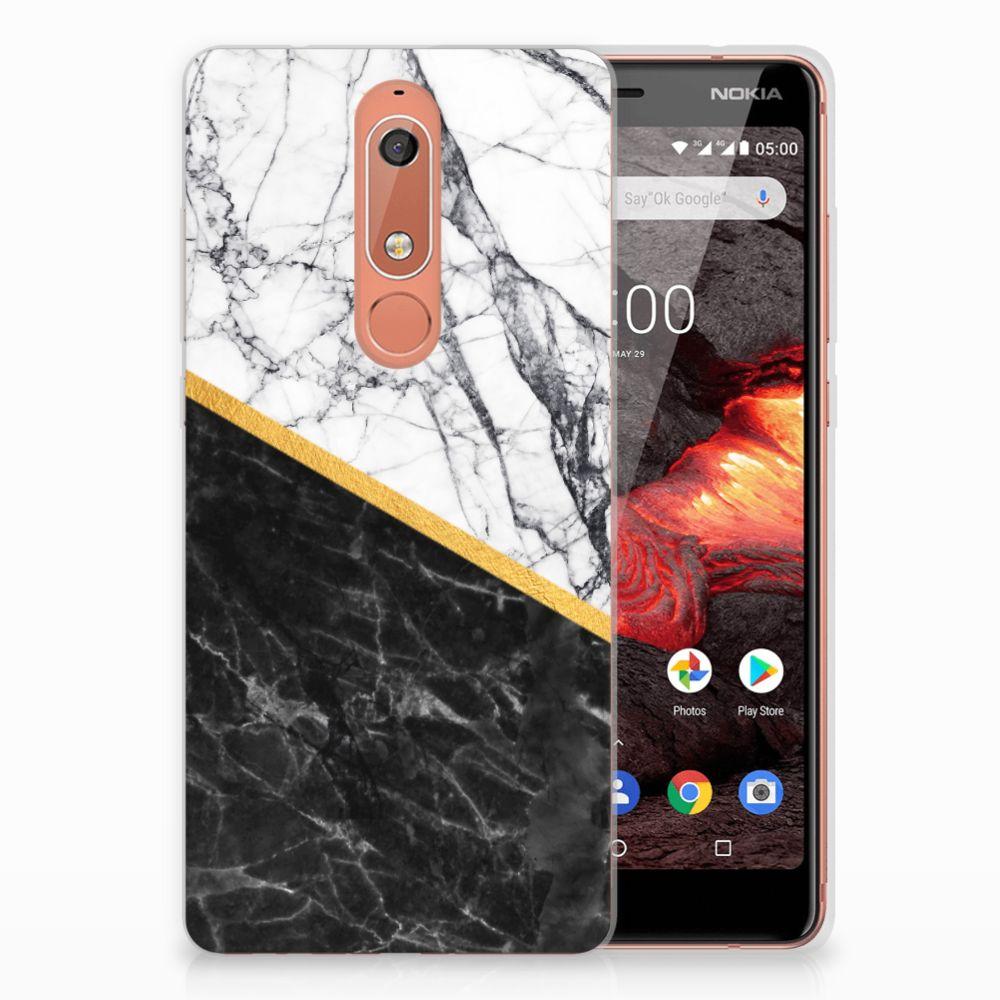 Nokia 5.1 (2018) TPU Siliconen Hoesje Marmer Wit Zwart