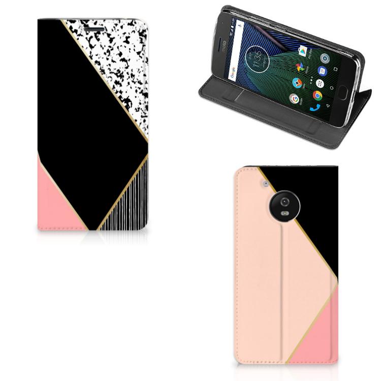 Motorola Moto G5 Stand Case Zwart Roze Vormen