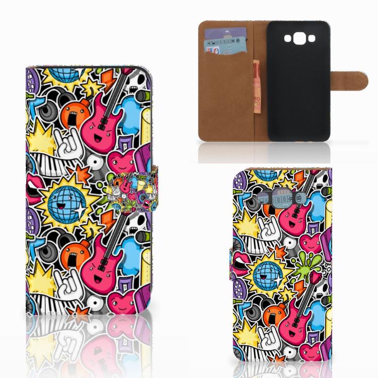 Samsung Galaxy E7 Wallet Case met Pasjes Punk Rock