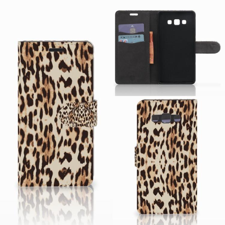 Samsung Galaxy A7 2015 Telefoonhoesje met Pasjes Leopard