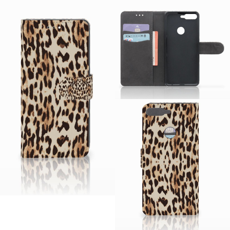 Huawei Y7 2018 Telefoonhoesje met Pasjes Leopard