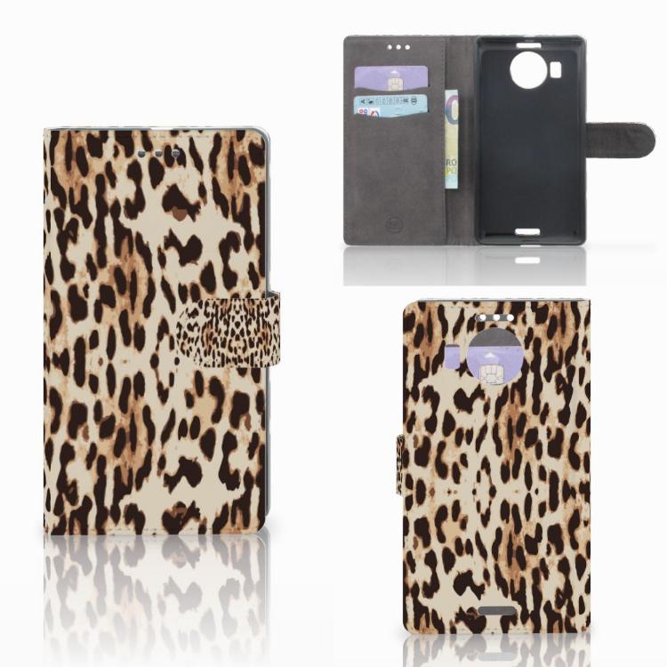 Microsoft Lumia 950 XL Telefoonhoesje met Pasjes Leopard